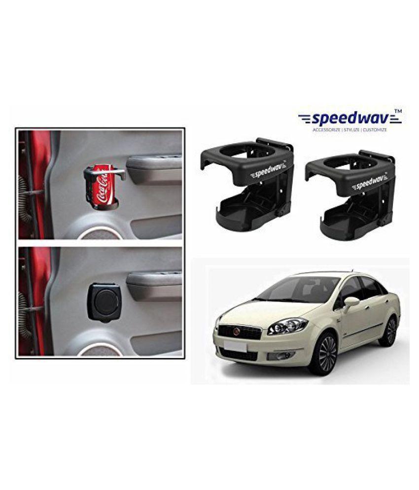 Speedwav Foldable Car Drink/Can/Bottle Holder Set Of 2 BLACK-Fiat Linea