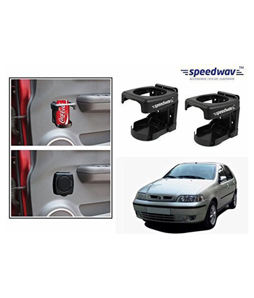 Speedwav Foldable Car Drink/Can/Bottle Holder Set Of 2 BLACK-Fiat Palio