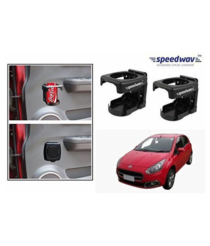 Speedwav Foldable Car Drink/Can/Bottle Holder Set Of 2 BLACK-Fiat Punto Evo