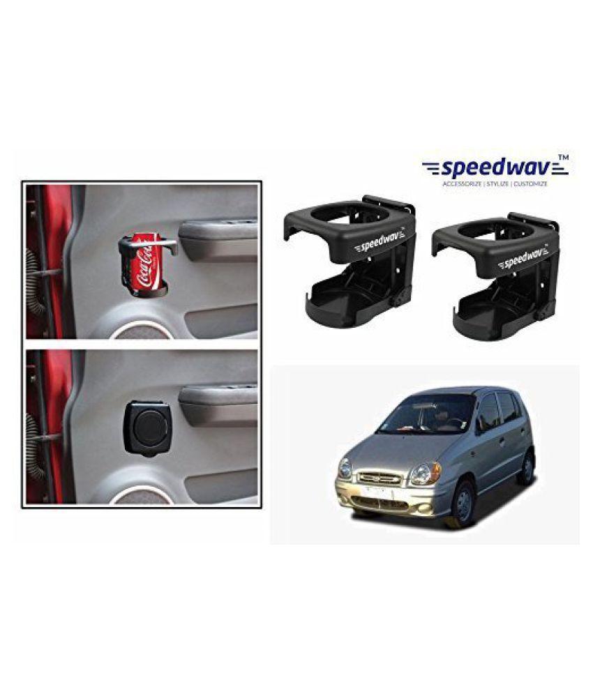 Speedwav Foldable Car Drink/Can/Bottle Holder Set Of 2 BLACK-Hyundai Santro