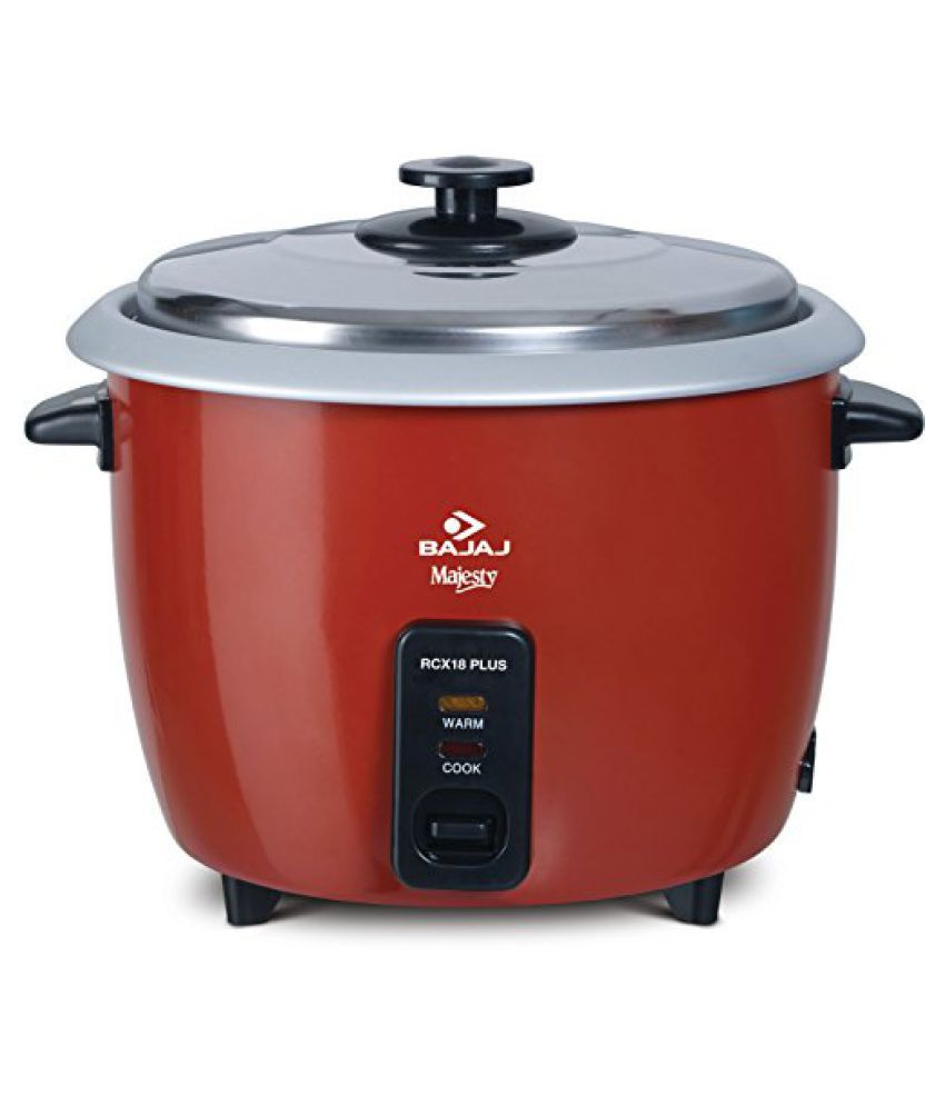 Bajaj Majesty RCX18 Plus 550-Watt Multifunction Rice Cooker (Red)