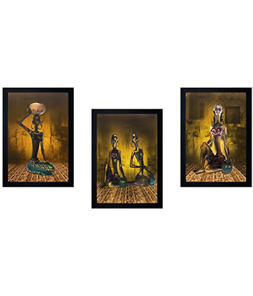 SAF Acrylic Textured Effect Framed Painting (Set Of 3, Dimension(LXBXH): 10 X 2 X 15 Cms)