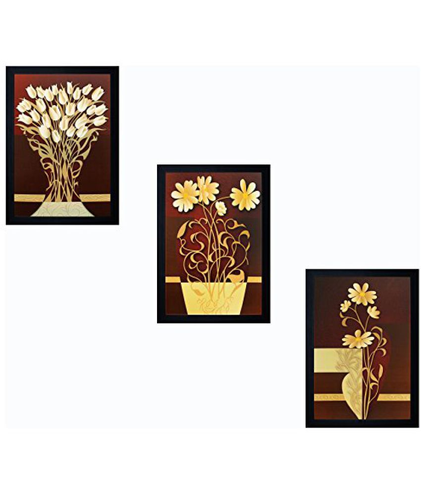 SAF 'Floral' Framed Painting (Wood, 20 cm x 3 cm x 30 cm, Special Effect Textured)