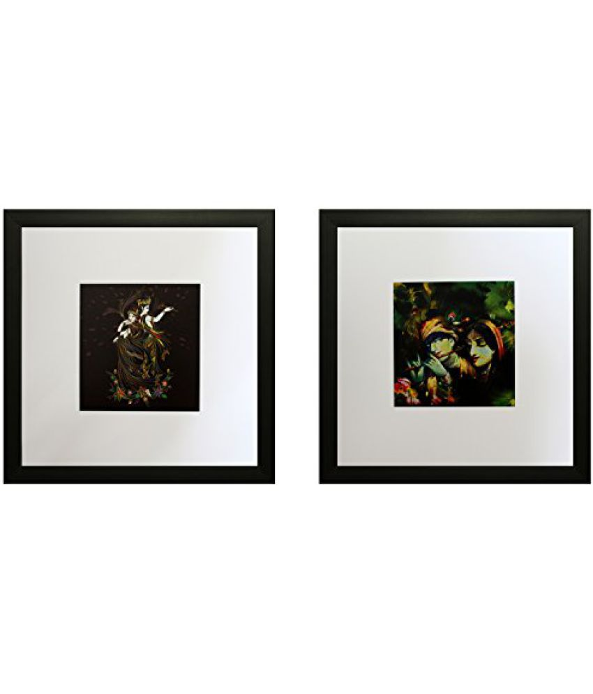 SAF Framed Painting (Wood, 30 cm x 3 cm x 30 cm, Set of 2, Textured UV Reprint, SAO784)