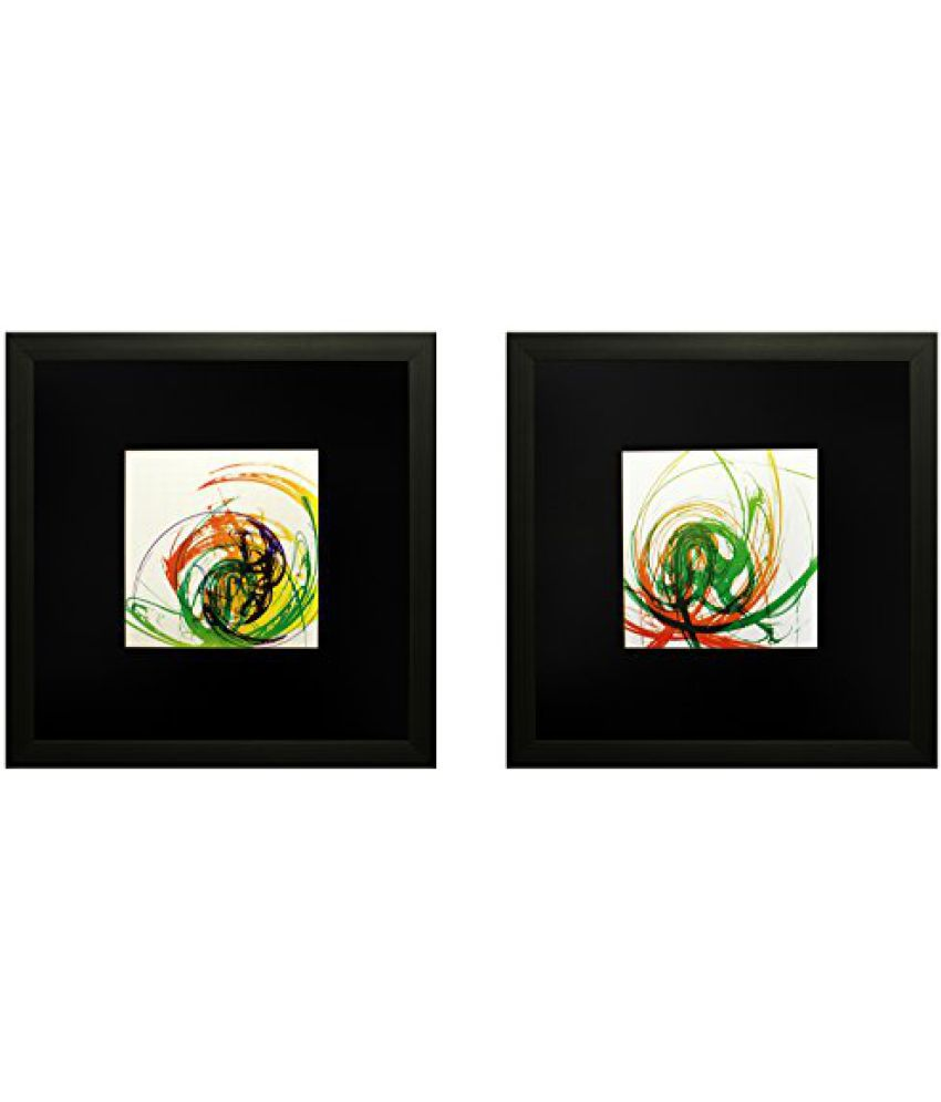 SAF Set Of 2 Textured Print With Uv Framed Reprint Painting (SANFO816, 25 cm x 3 cm x 25 cm)