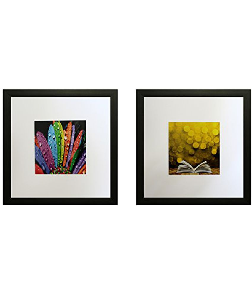 SAF Set Of 2 Textured Print With Uv Framed Reprint Painting (SANFO802, 25 cm x 3 cm x 25 cm)