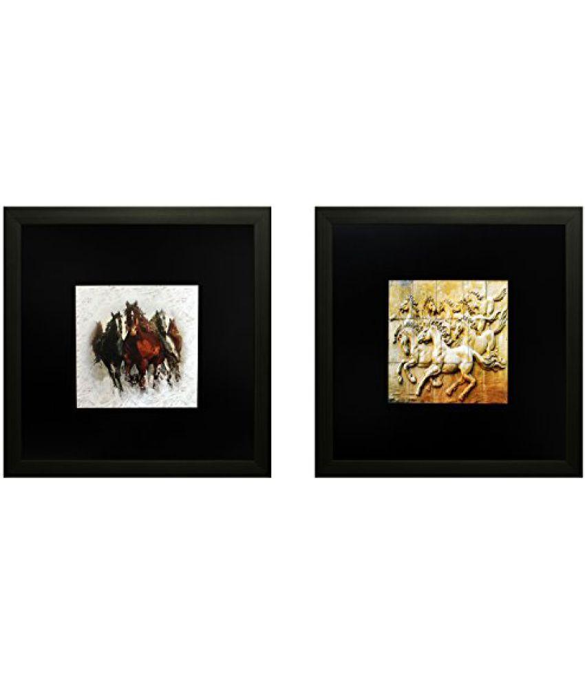 SAF Set Of 2 Textured Print With Uv Framed Reprint Painting (SANFO808, 25 cm x 3 cm x 25 cm)