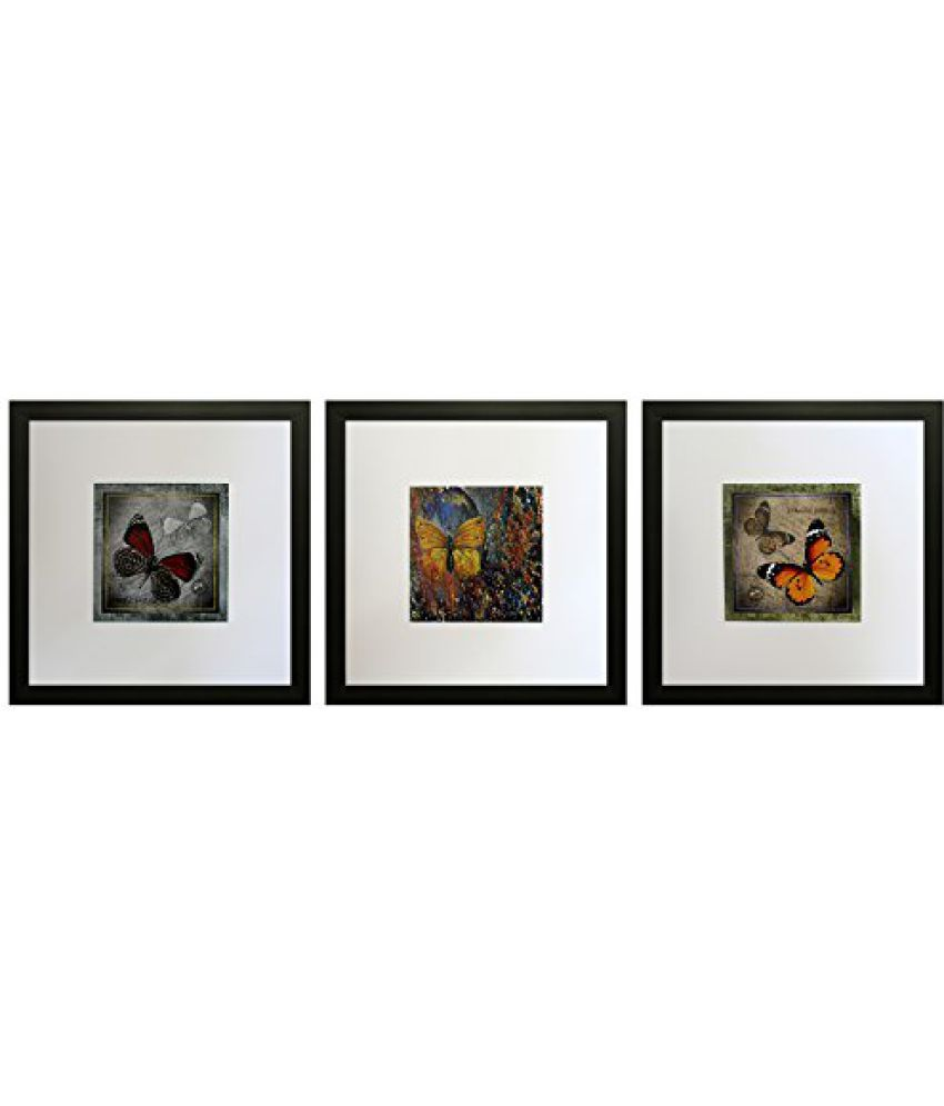 SAF Set Of 3 Textured Print With Uv Framed Reprint Painting (SANFO794, 25 cm x 3 cm x 25 cm)