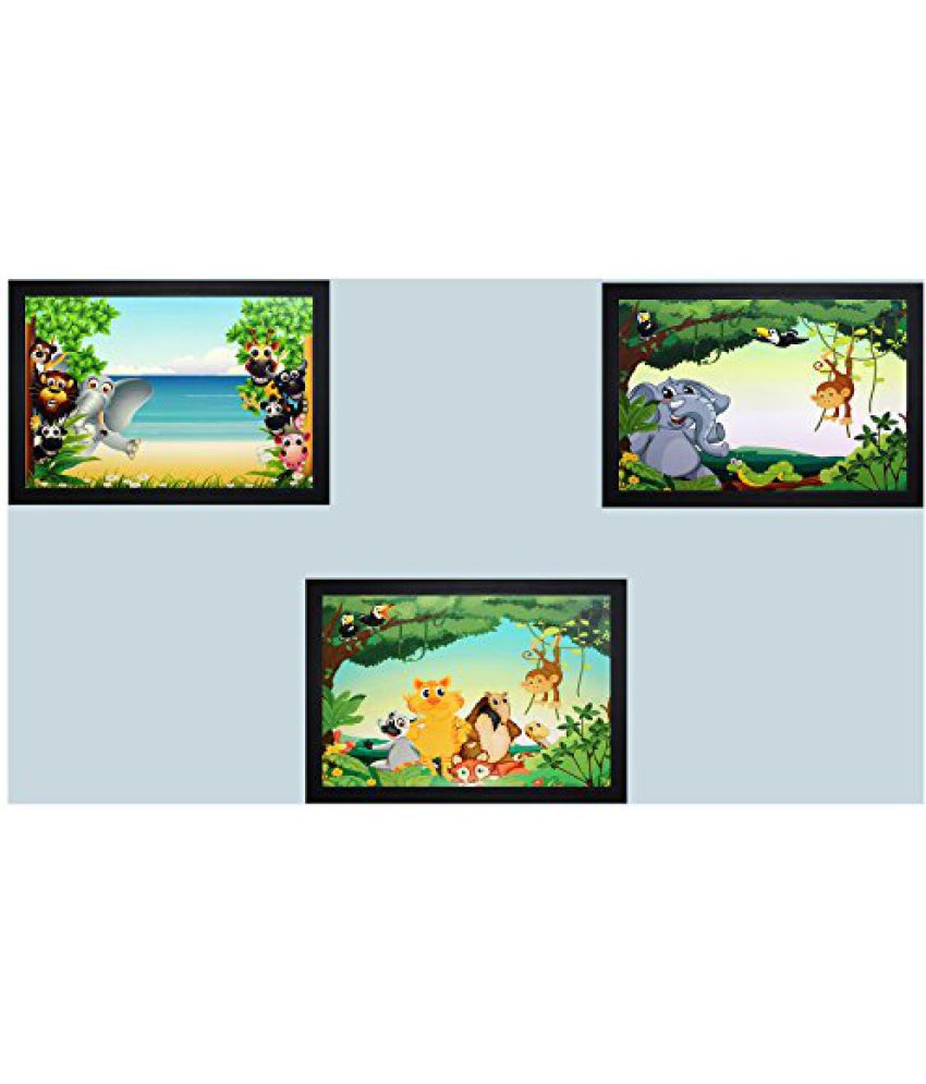 SAF Set Of 3 Textured Print With Uv Framed Reprint Painting (SANFO385, 30 cm x 3 cm x 45 cm)