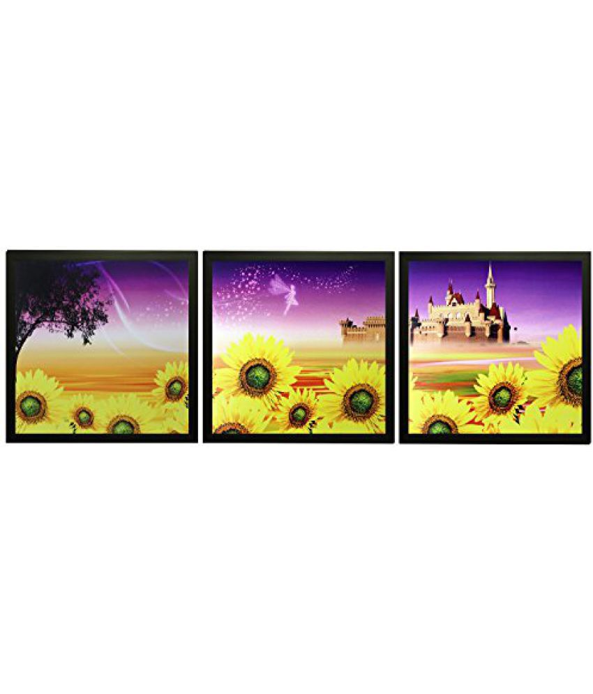SAF Set Of 3 Textured Print With Uv Framed Reprint Painting (SANFO837, 20 cm x 3 cm x 20 cm)