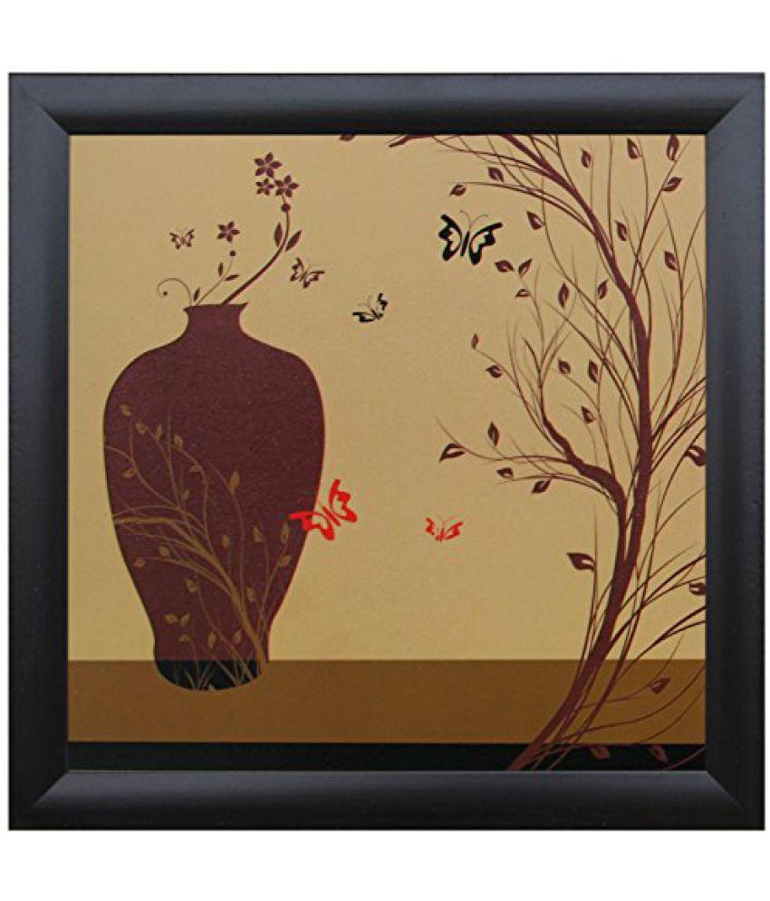 SAF Special Effect Textured Floral with UV Print Painting (SANFO232, 20 cm x 3 cm x 20 cm)