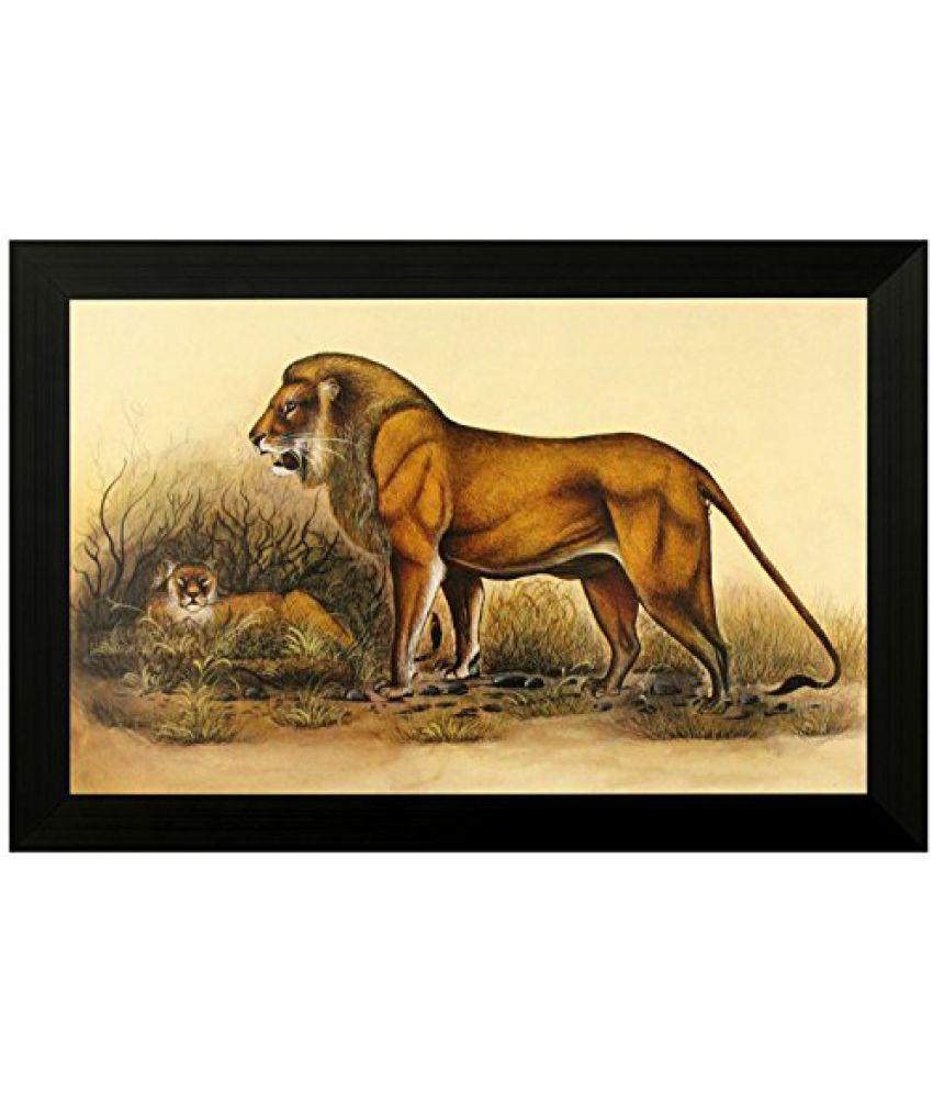 SAF Special Effect Textured Lion UV Print Painting (SANFO125, 30 cm x 3 cm x 45 cm)