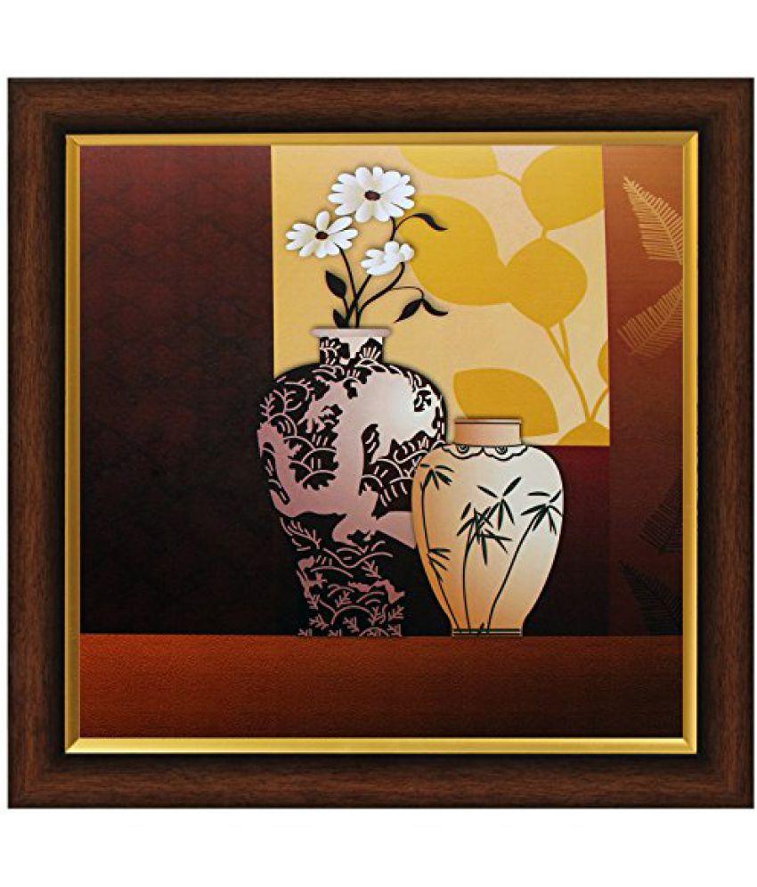 SAF Textured Print with UV Framed Reprint Painting (SANFO363, 30 cm x 3 cm x 30 cm)