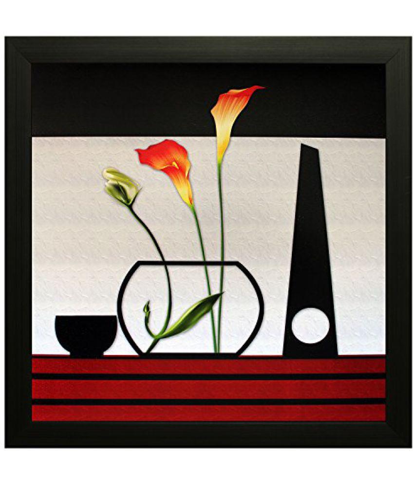 SAF Textured Print with UV Framed Reprint Painting (SANFO501, 30 cm x 3 cm x 30 cm)
