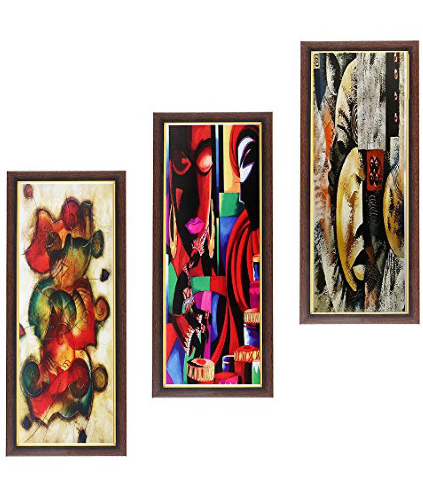 Wens Abstract MDF Wall Painting (43 cm x 18 cm x 1 cm, Set of 3)