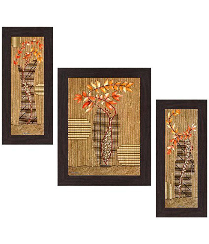 Wens Botanical MDF Wall Art (14.5 cm x 29 cm x 1 cm, Set of 3, WSP-4156)