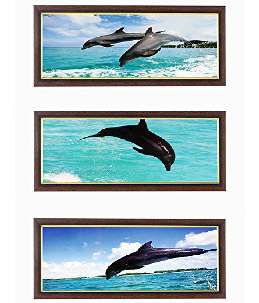 Wens Dolphin with Ocean MDF Wall Art (28 cm x 13.5 cm x 1 cm, Set of 3)