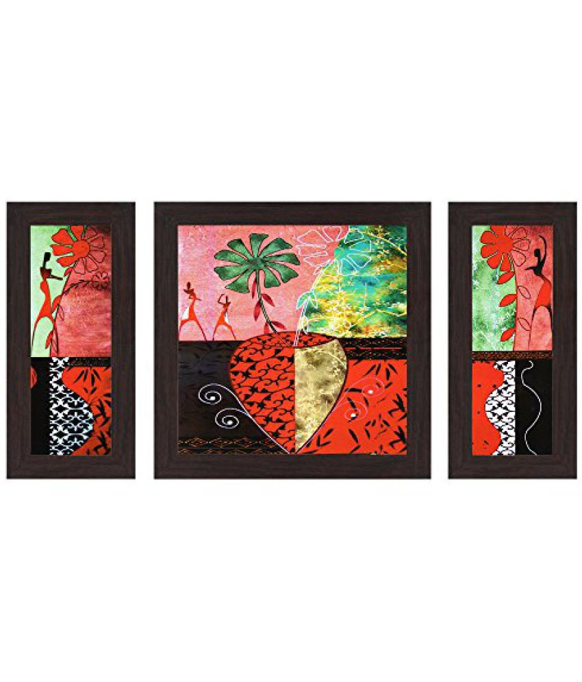 Wens Lady Play with Flower MDF Wall Art (14.5 cm x 29 cm x 1 cm, Set of 3)