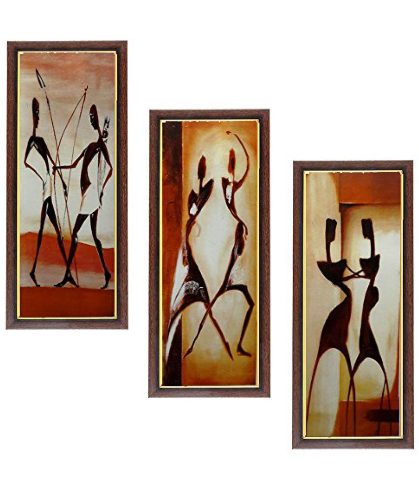 Wens People MDF Wall Art (28 cm x 13.5 cm x 1 cm, Set of 3, WSPC-5017)