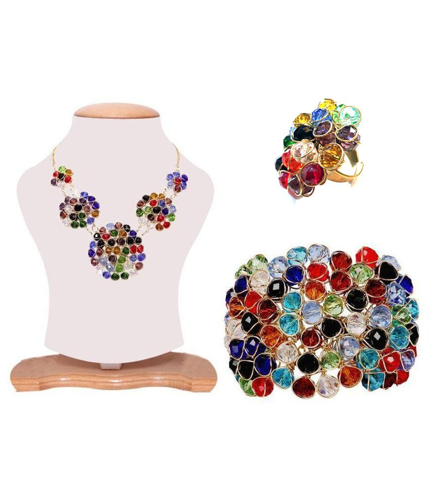 Renaissance Traders Glass Gold Plating Crystal Studded Multi Coloured Necklace set Combo
