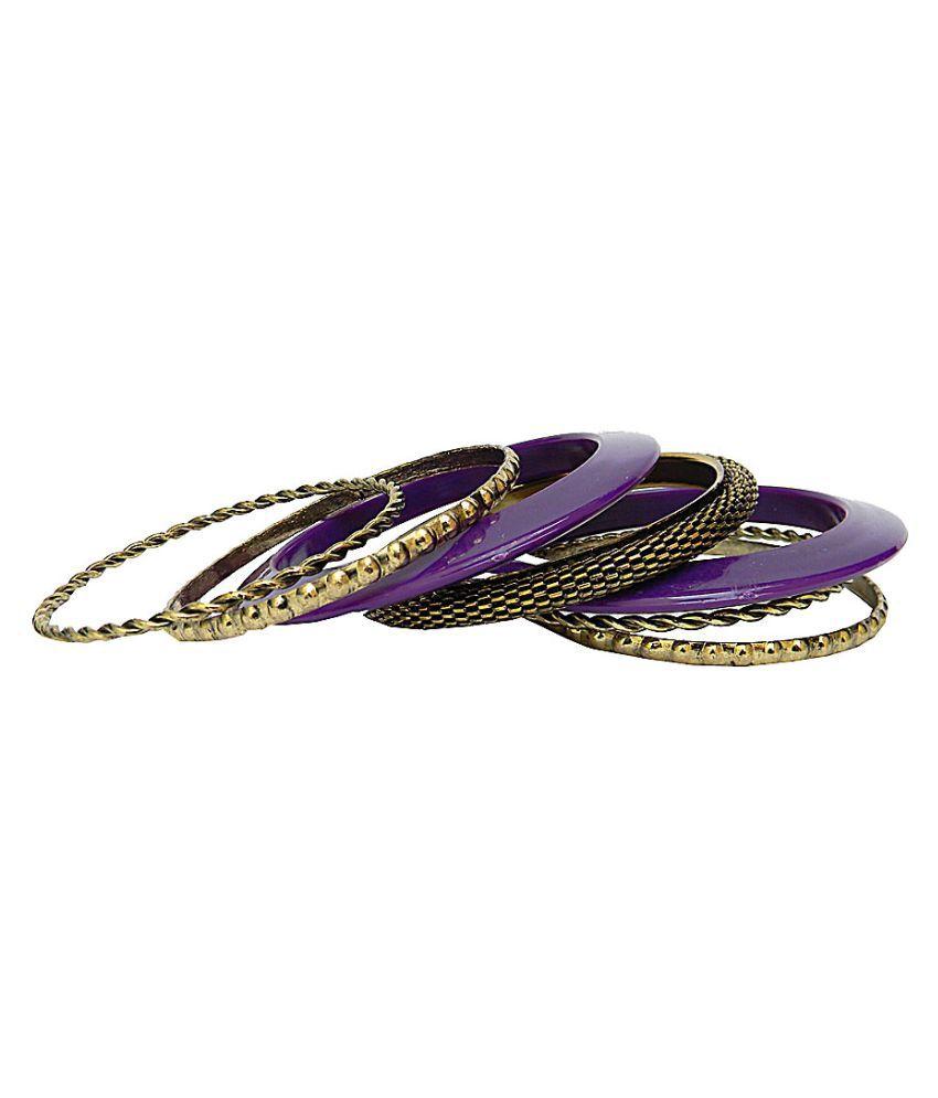 Trendeela Aurous Purple Brass Plated Alloy Bangle Set