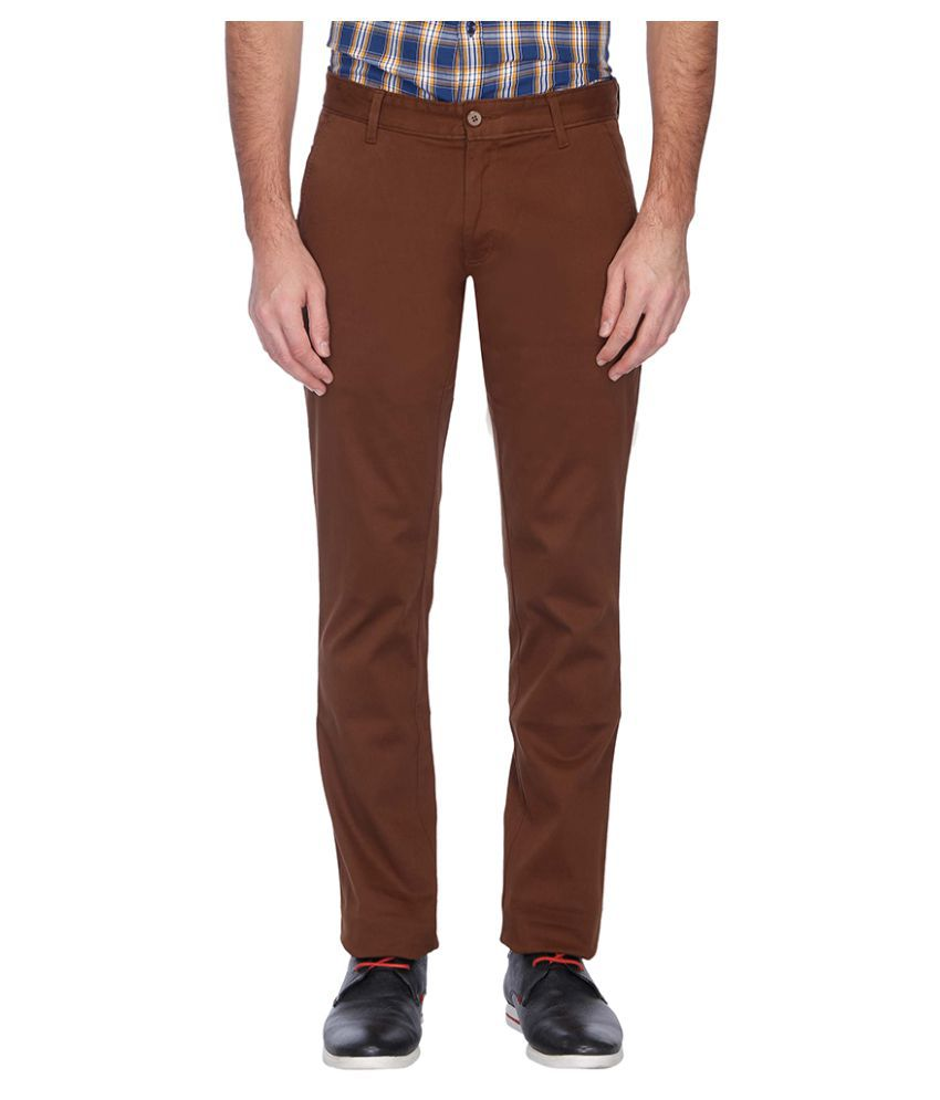 Vettorio Fratini Brown Regular Flat Chinos