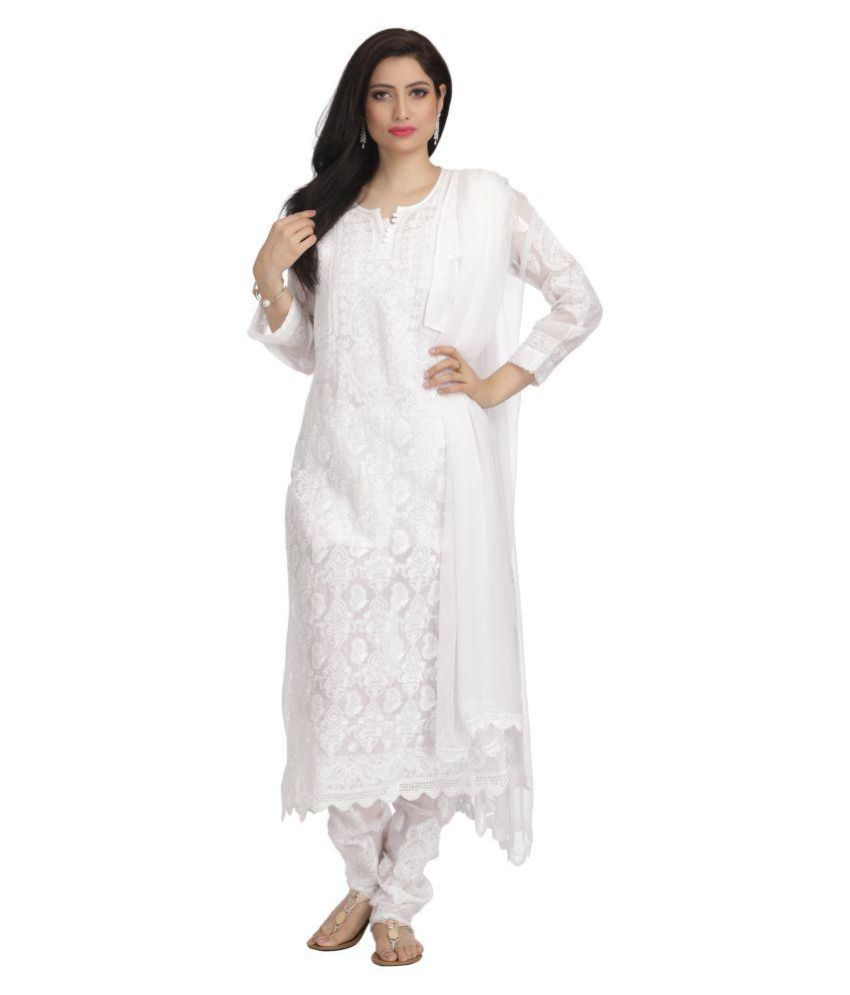 Ada White Cotton Straight Stitched Suit