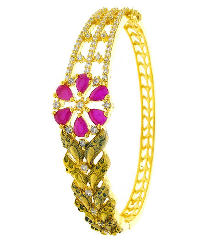 Anuradha Art Golden Tone Styled With Pink Colour Shimmering American Diamonds Stone Hand Bracelets/Kada For Women/Girls