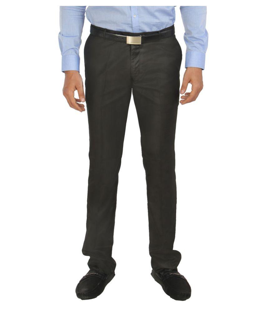 zido Black Slim -Fit Flat Trousers