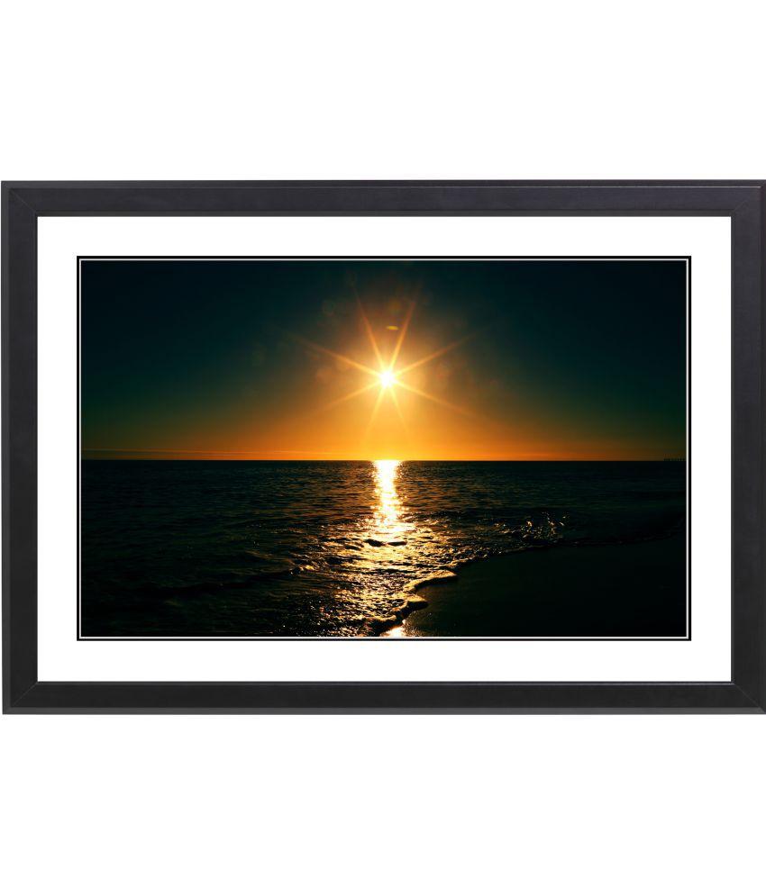 CRAFTSFEST BEAUTIFULL SUNSET MDF Painting With Frame- (30cmX20cmX1.5cm)