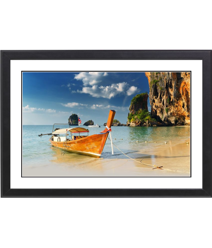 CRAFTSFEST BOAT IN SEA SHORE MDF Painting With Frame- (30cmX20cmX1.5cm)
