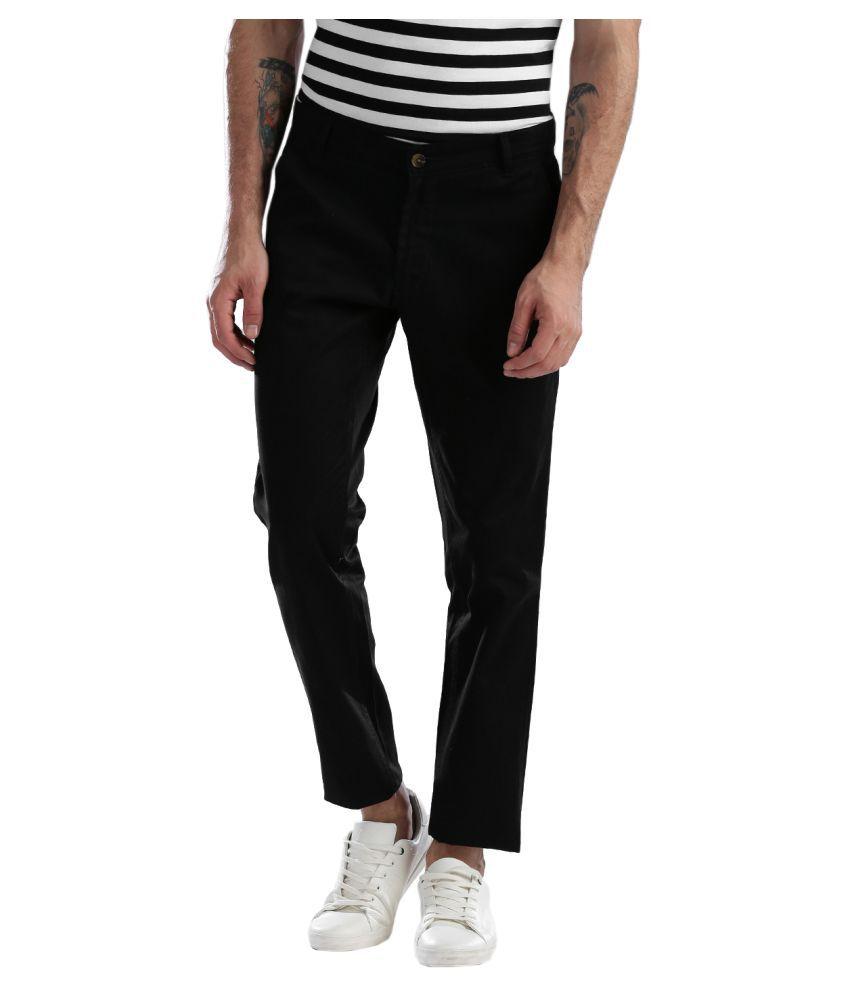 Hubberholme Black Slim -Fit Flat Chinos