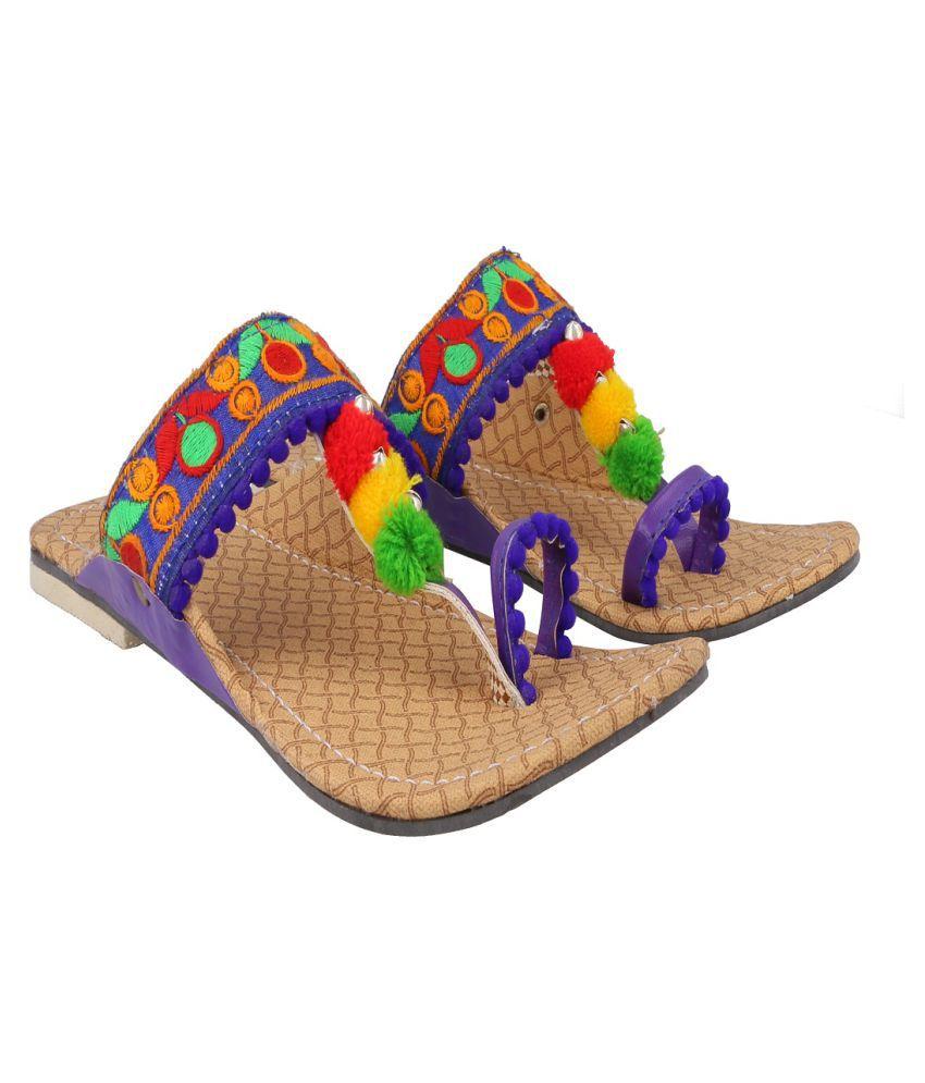 KALAKARINDIA Blue Wedges Ethnic Footwear