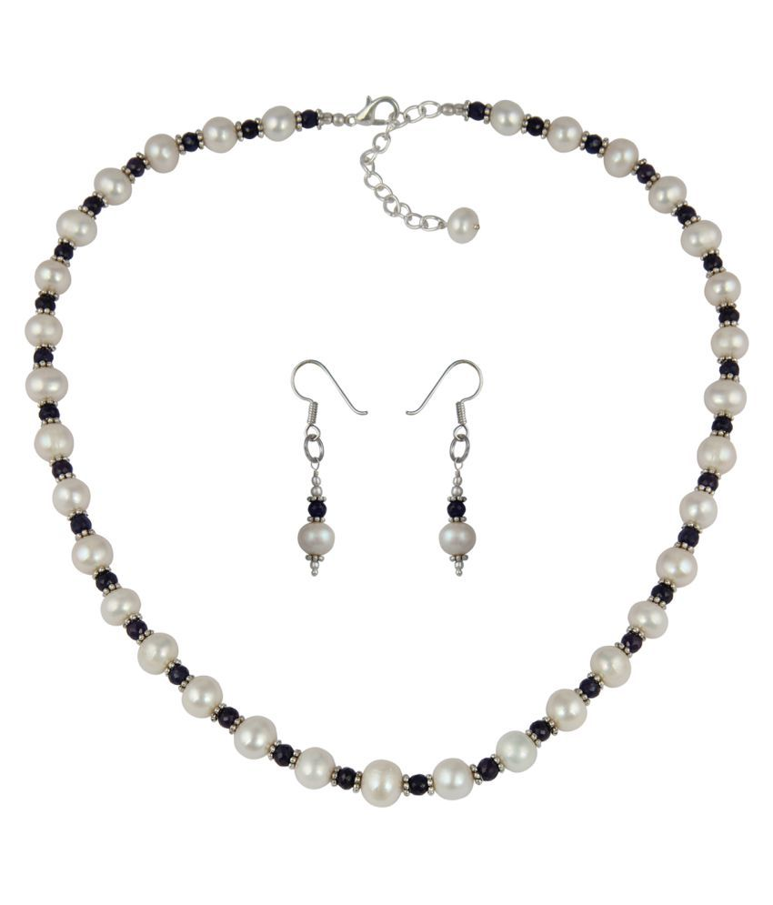 Pearl Necklace Set Projected With Fresh Water Pearl And Corundum In Faceted Roundel Shape Specifical Desgined To Add On to Your Charm