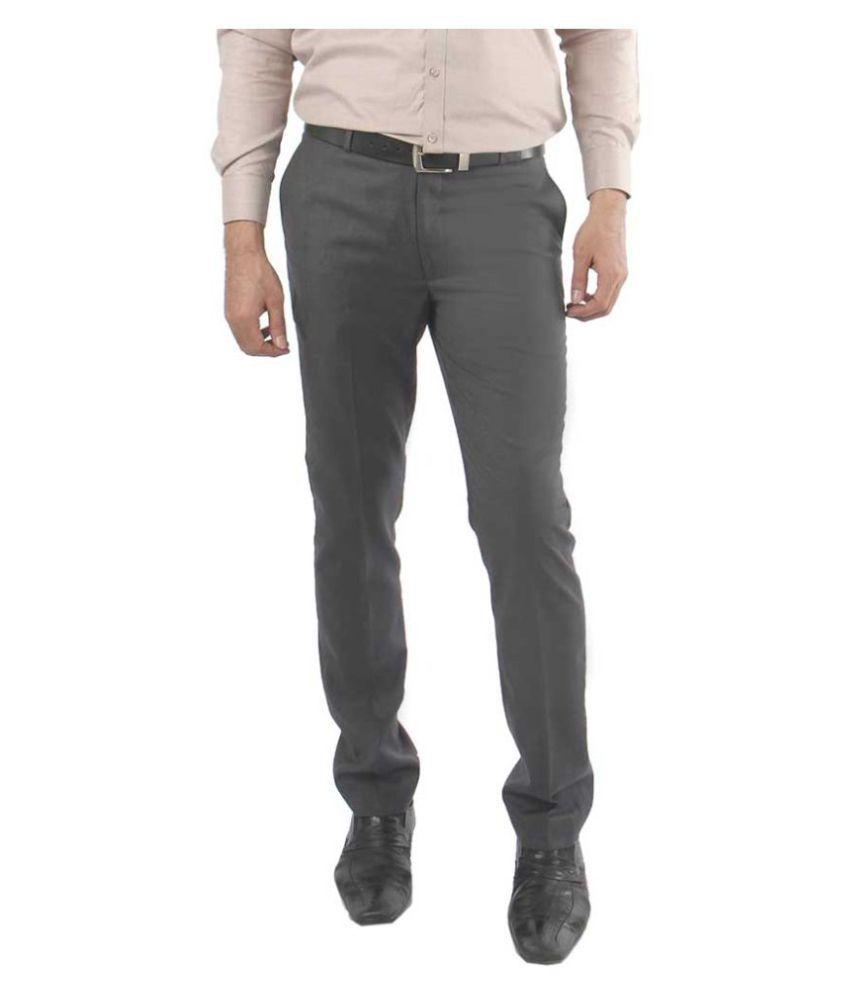 zido Grey Regular -Fit Flat Trousers