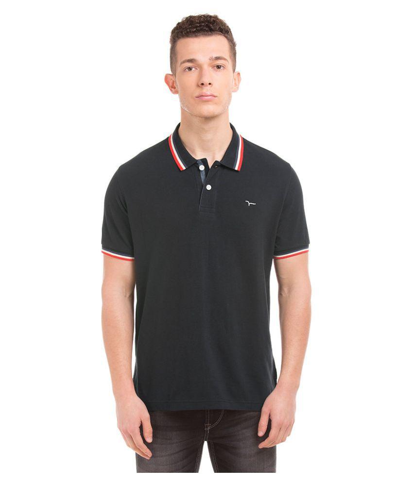 Flying Machine Black V-Neck T-Shirt