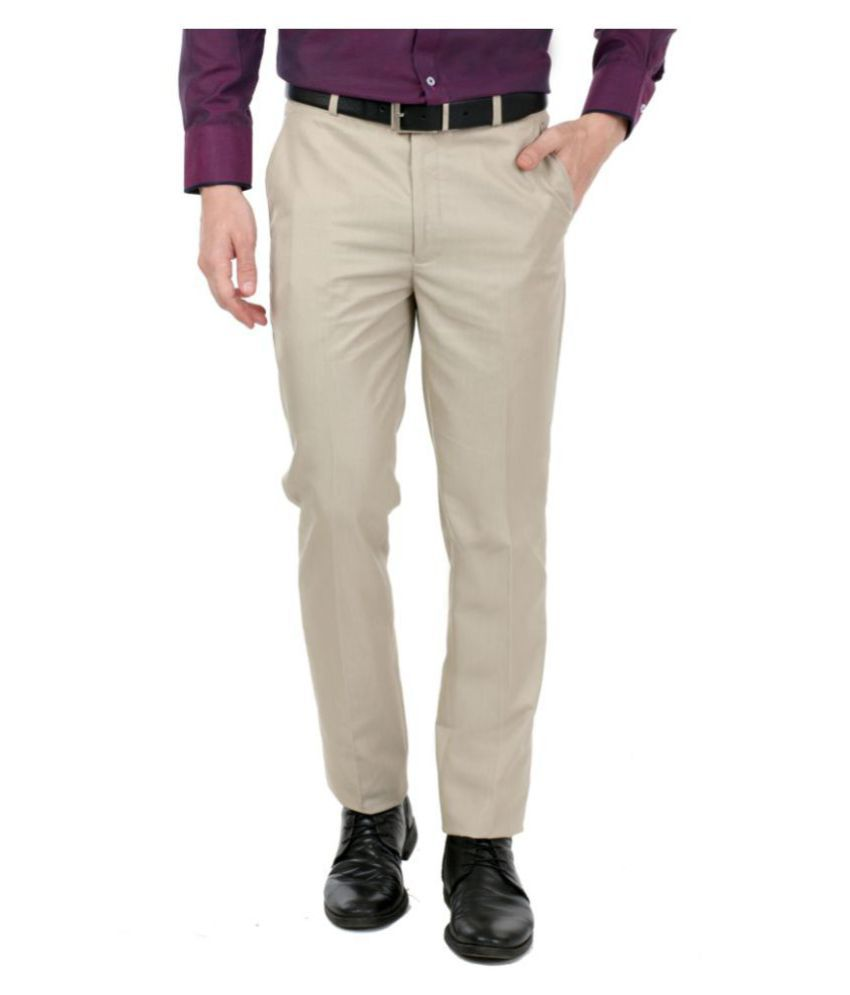 zido Beige Slim -Fit Flat Trousers