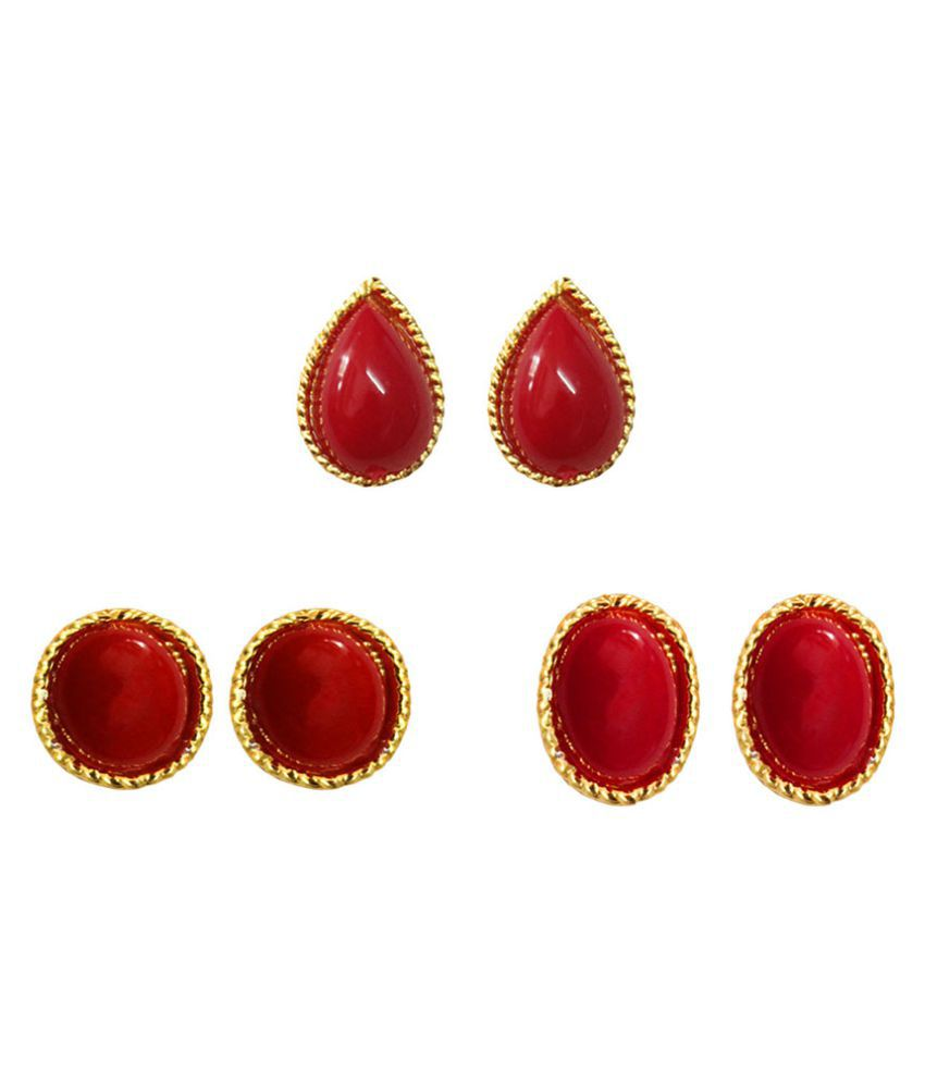 Pihu Red Alloy Gold Plated Studs Earrings - Combo Of 3
