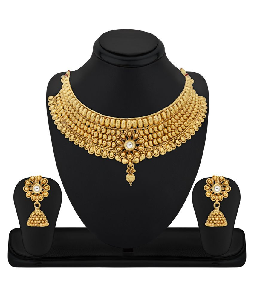 RG Fashions Jewellery Zinc Gold Plating Kundan Studded Gold Coloured Necklace Set For Women