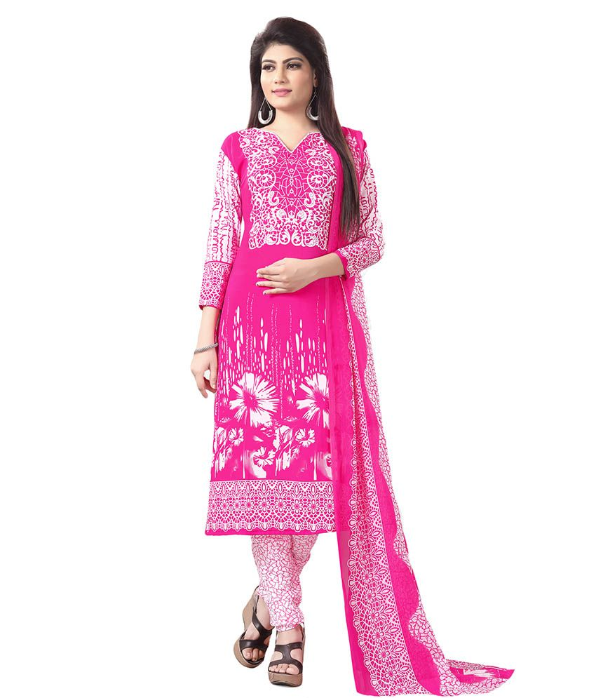 Salwar Studio Pink Synthetic Dress Material