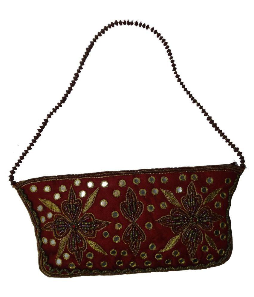 WOAP Red Satin Shoulder Bag