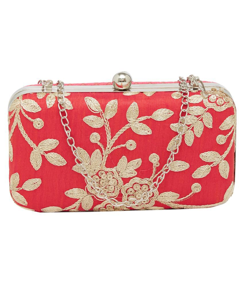 Tarusa Red Silk Box Clutch