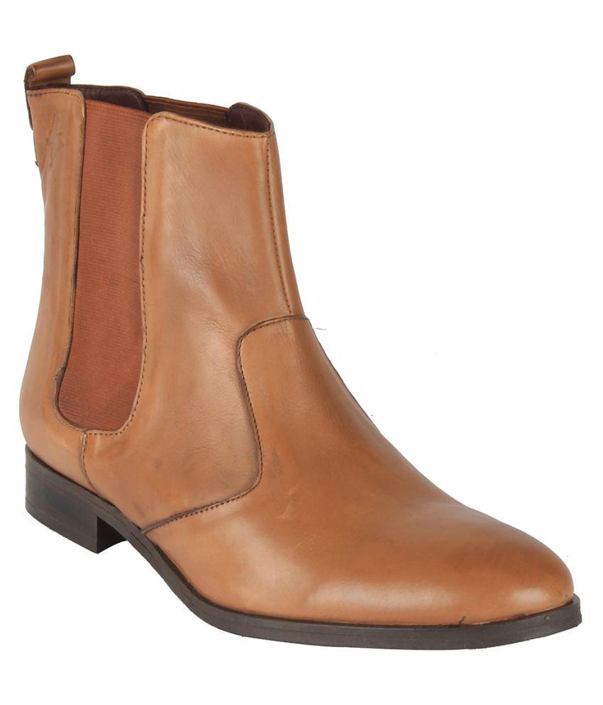 Salt N Pepper Tan Ankle Length Chelsea Boots