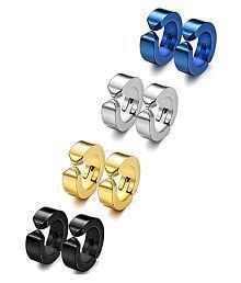4 Pair Colors Huggie Hinged Hoop Earrings Combo Non-piercing Clip on Earrings Unisex Men Women Boys