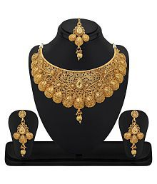 RG Fashions Zinc Gold Plated Kundan Golden Choker Necklace Set with Maang Tikka For Women