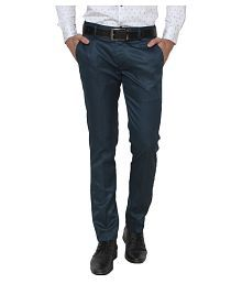 Singham Dark Green Regular -Fit Flat Trousers