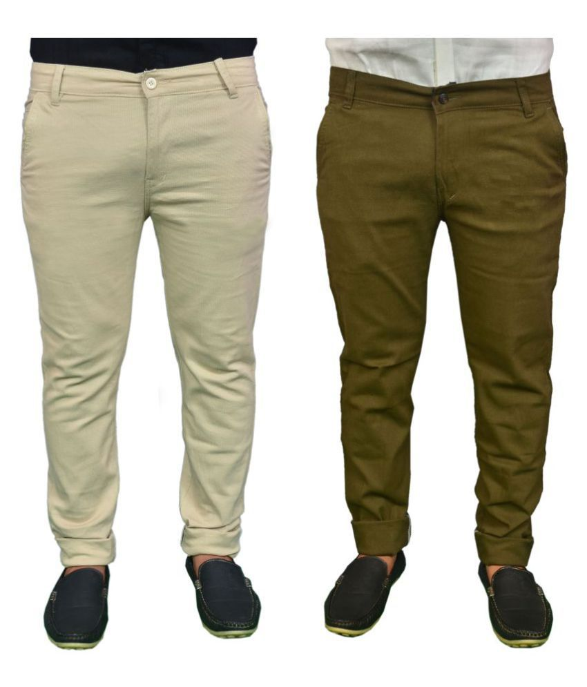 REDMAPLEJEANS Multicolored Regular -Fit Flat Chinos