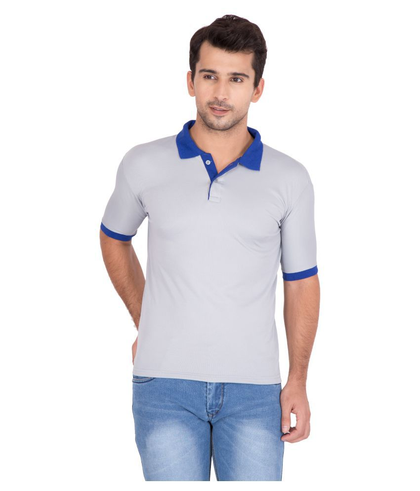 Jollify Grey Polyester Polo T-Shirt