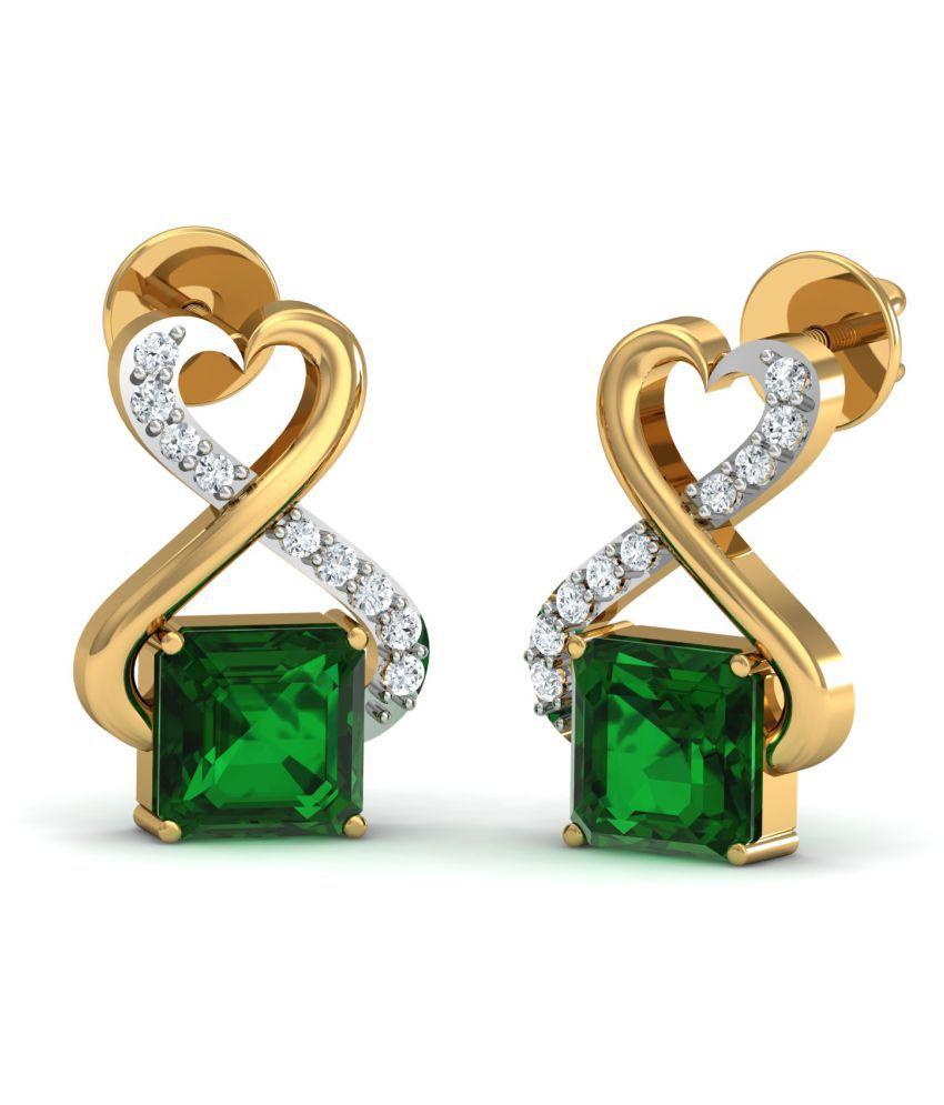 Dishis Designer Jewellery 14k BIS Hallmarked Gold Diamond Studs