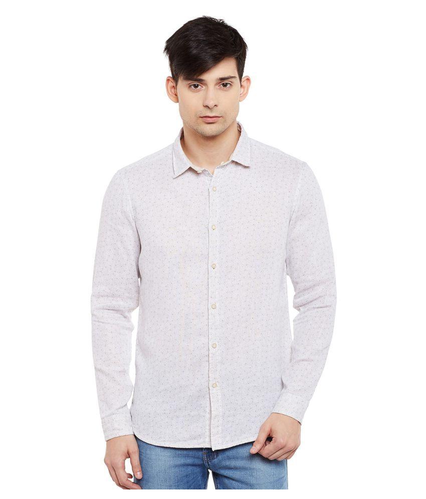 Numero Uno Beige Casual Slim Fit Shirt